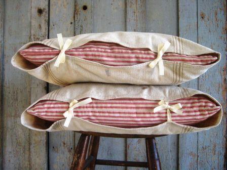 grain sack/red stripe ticking pillow