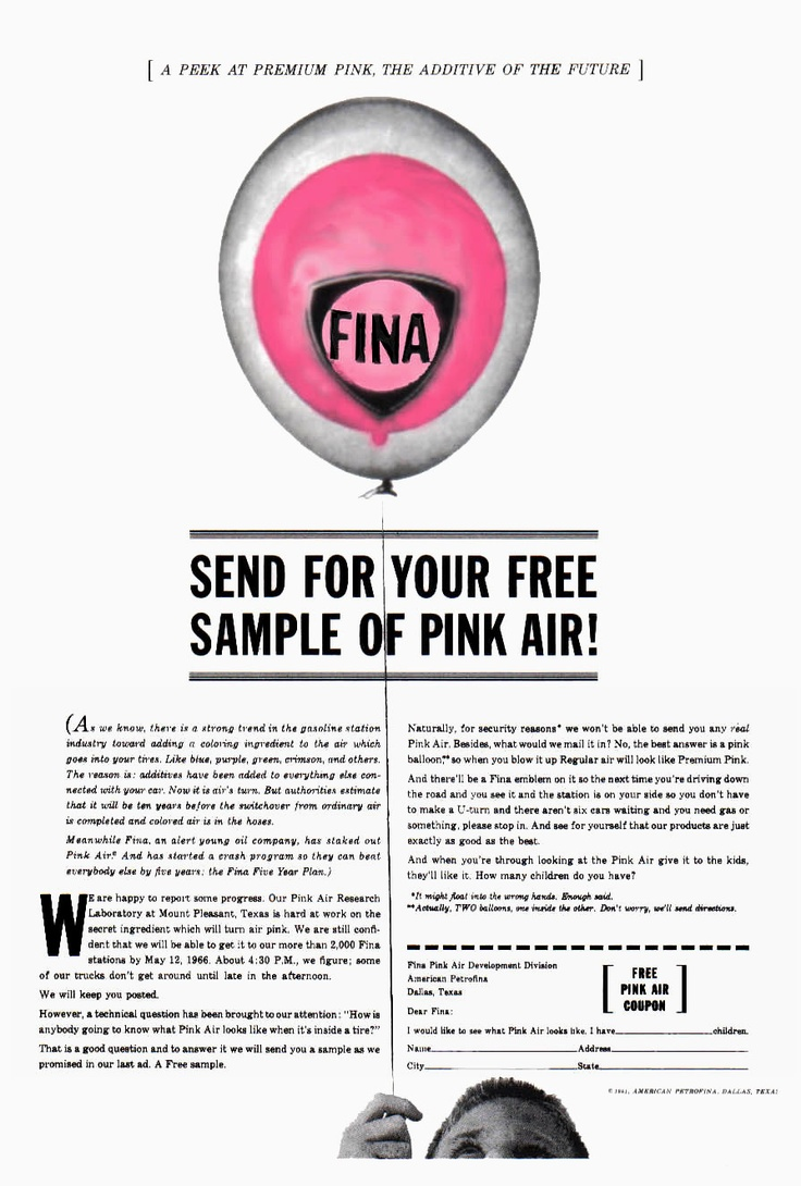 """""""Free Sample!"""". Ad for FINA by Howard Luck Gossage"""
