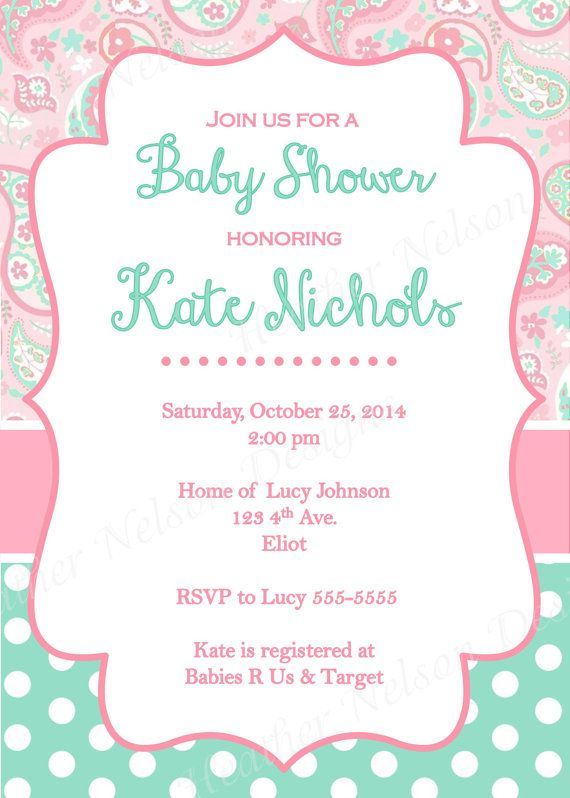 206 best tarjetas lindas images on pinterest invitation ideas pink paisley teal baby shower invitation by designsofheather filmwisefo