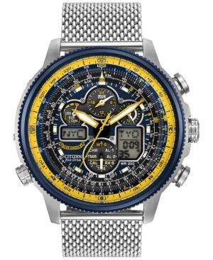 Citizen Men's Analog-Digital Chronograph Eco-Drive Navihawk A-t Stainless Steel Mesh Bracelet Watch 48mm JY8031-56L -
