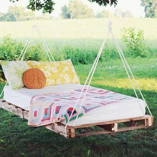 165 best gardening landscapes outdoors images on pinterest for Outdoor pallet swing bed
