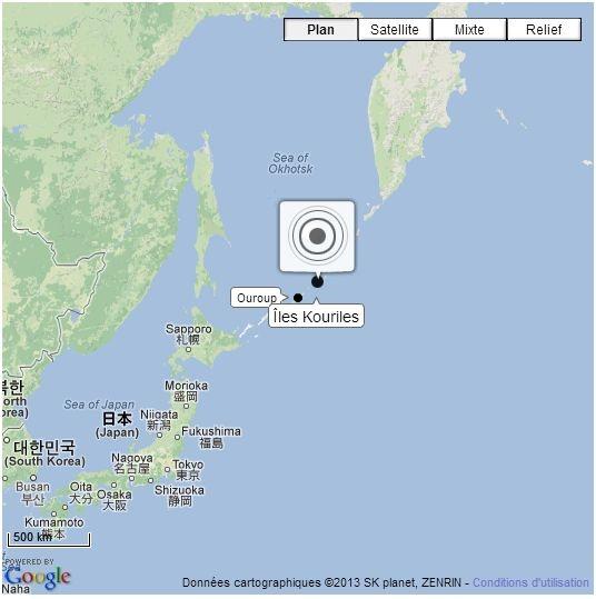 Un séisme de magnitude 7,2 s'est produit, vendredi 19 avril, au nord du Japon, au large des îles Kouriles administrées par la Russie, et a été ressenti dans toute la partie nord-est de l'archipel nippon, mais aucune alerte au tsunami n'a été déclenchée, a annoncé l'Institut de géophysique américain (USGS)