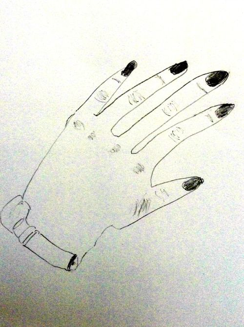 This was Jenny's pre-instruction drawing of her hand.
