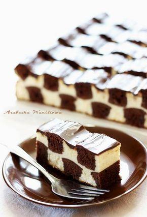 Cheesecake damier ou échiquier - Bandes de gâteau au chocolat (cacao) et Cream Cheese - Cheesecake-szachownica3