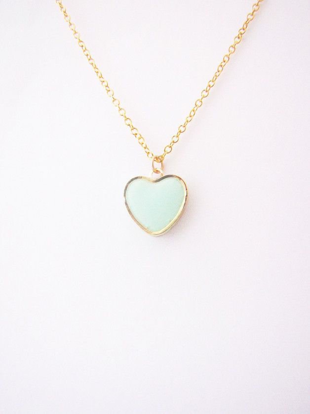 Charm Necklaces – Mint heart necklace. Love necklace. – a unique product by Nuann on DaWanda