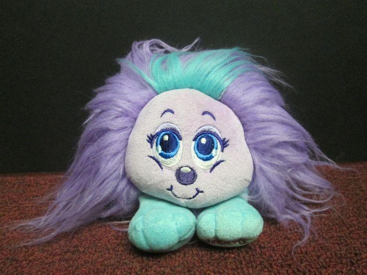 "CUTE Used 6"" tall Shnooks Purple WOOGIE Furry Ball Plush Doll Toy #Shnooks"