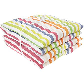 Four Pack Striped Seat Pads 40x40cm