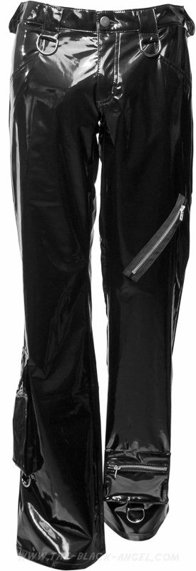 Shiny black PVC pants from Aderlass's Lovesect clothing line, with ring and zipper detail.