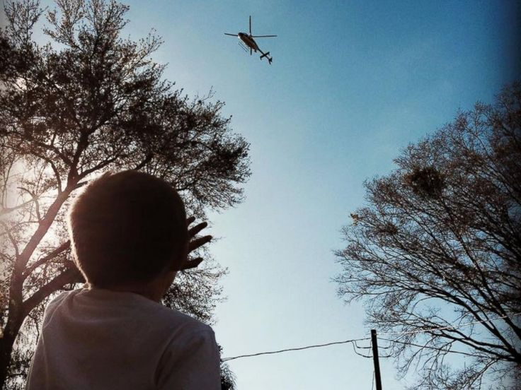 PHOTO: he local Sheriffs department arranged for a helicopter fly by to help Glenn Buratti celebrate his sixth birthday.