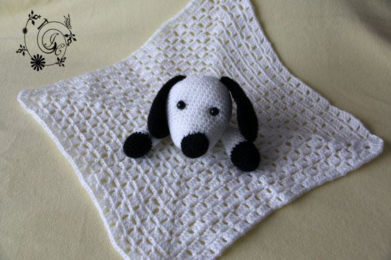 Puppy Lovey Blanket Crocheted White and by DelightGalleryCrafts