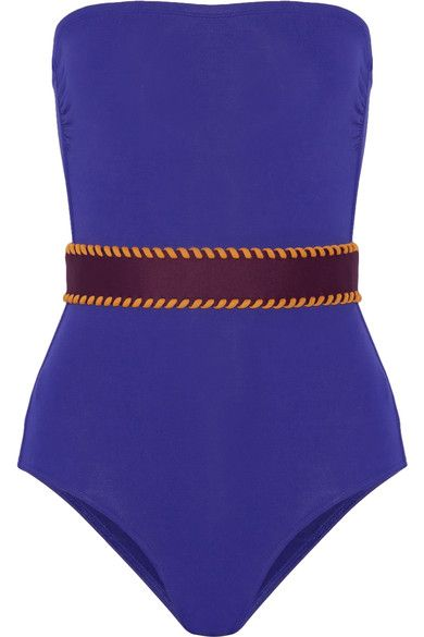 Royal-blue, merlot and orange stretch-polyamide Pull on 77% polyamide, 23% elastane Hand wash or dry clean Lotion, sunscreen, oil and chlorine can cause discoloration of this item; this is not a manufacturing defect. Please follow care instructions to keep your swimwear in the best condition. Made in France