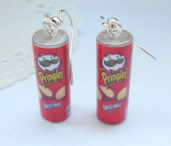 Pringles earrings handmade polymer clay food by kimonoscuro, $10.00