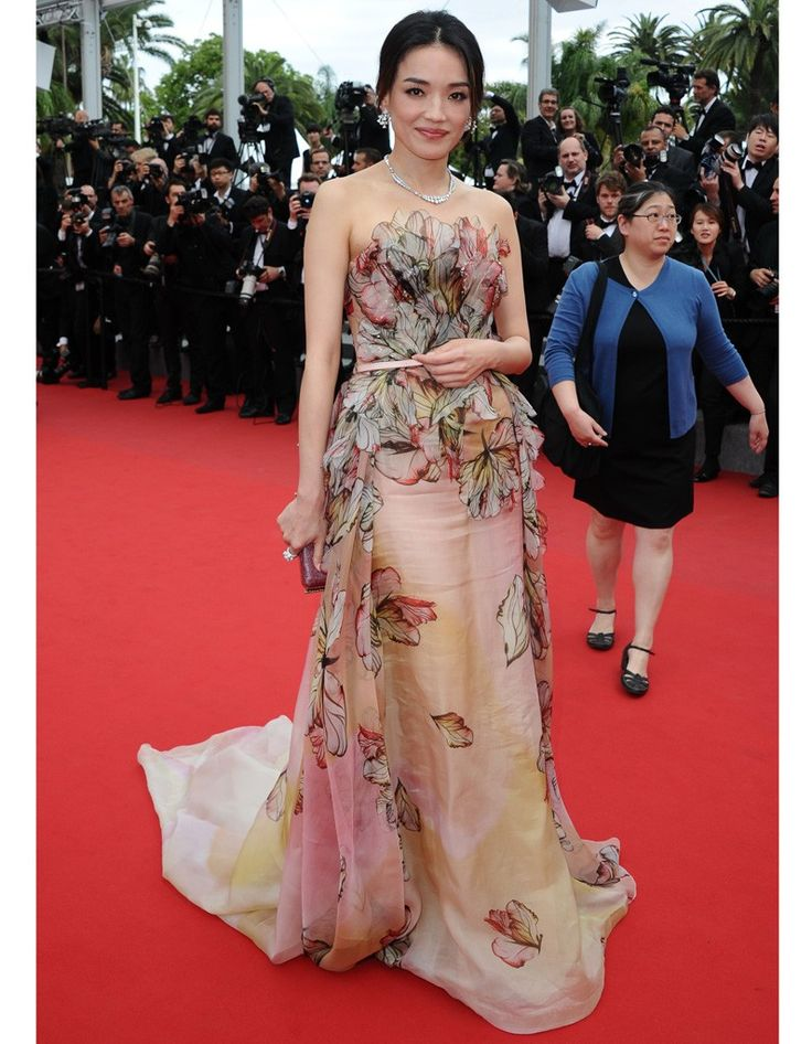 """Shu Qi in an Elie Saab Spring 2015 Haute Couture gown with Bulgari jewels attends the Closing Ceremony And """"Le Glace Et Le Ciel"""" Premiere during The 68th Annual Cannes Film Festival #Cannes2015"""