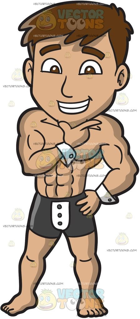 A Charming Male Stripper:  A muscular man with blonde hair wearing white cuffs black and white boxers with three buttons grins while resting his chin under his right thumb and index finger left hand placed on top of his hip  The post A Charming Male Stripper appeared first on VectorToons.com.  #clipart #people #cartoon #vector #vectortoons