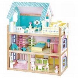 Mentari poppenhuis blauw. Met 3 etages, een lift en een dakterras.