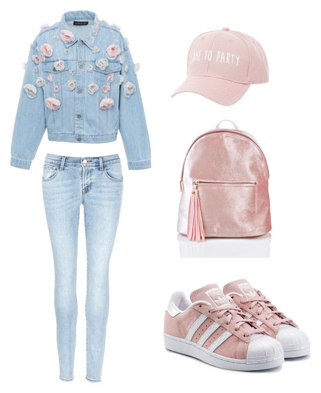 """Pink Casual"" by meysiskatikha on Polyvore featuring Anouki, J Brand, adidas Originals and Charlotte Russe"