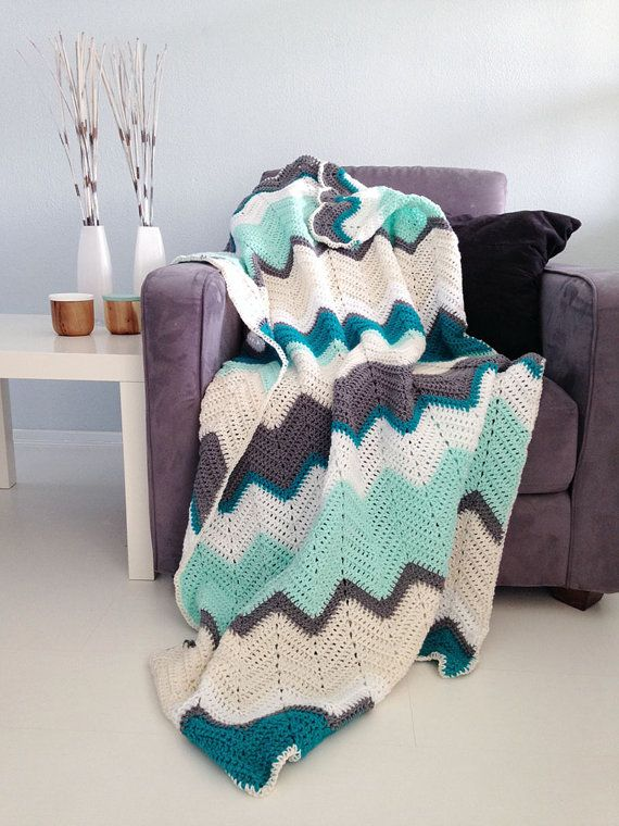 Description ---------------  A new crochet blanket in fresh teal and mint colors with white, cream and gray and a cream border. This crochet