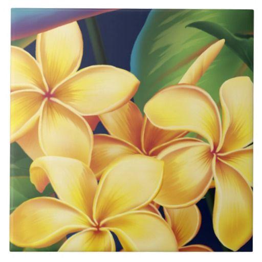 Tropical Paradise Hawaiian Plumeria Tiles & Trivet
