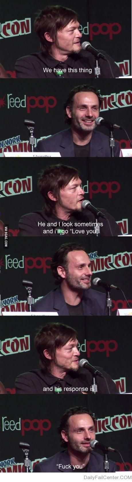 """Two of the sexiest men on TV!  Can't pick a team - they are """"the team"""" - and with Michonne - they rock the new zombie world!"""