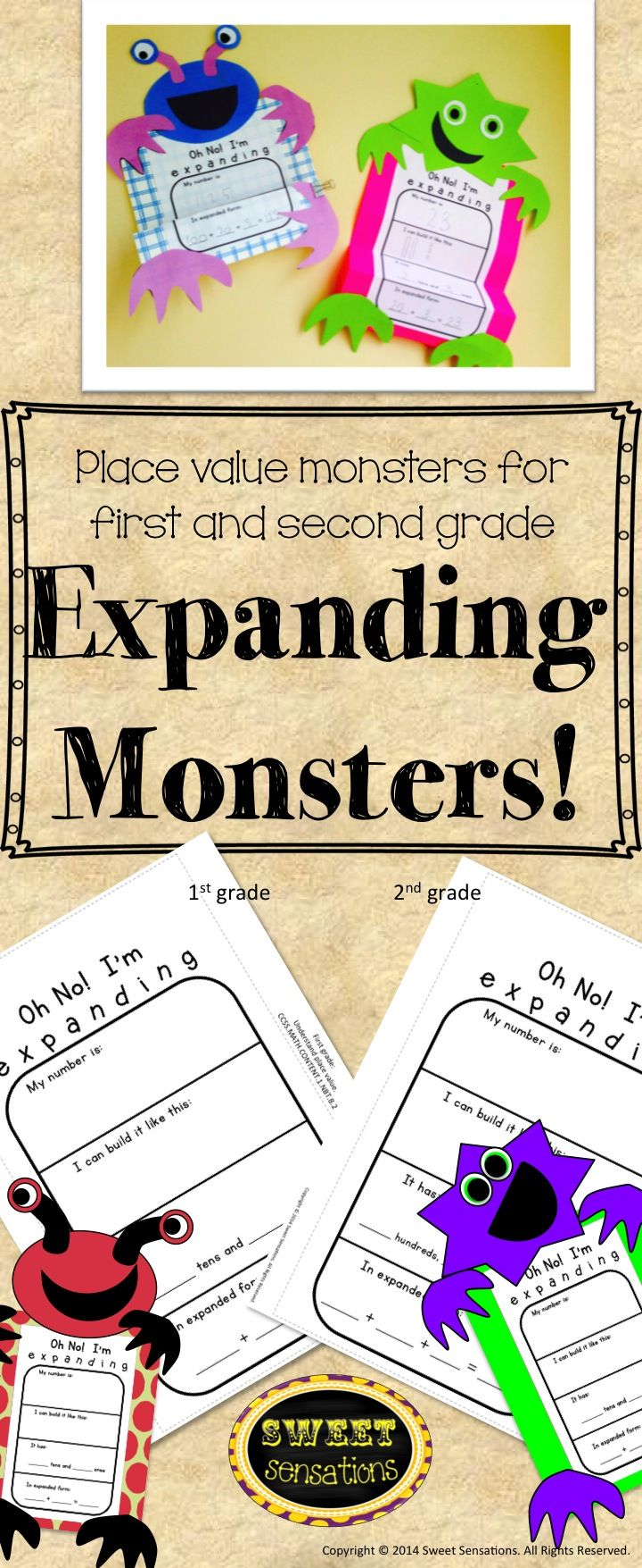 These monsters are the perfect way to demonstrate place value and expanding numbers! Differentiated for two digit numbers for first grade and three digit numbers for second grade. There are two monster head templates with interchangeable eyes and mouths so that your monsters can be as unique as your students. Display on a bulletin board - would look fantastic for Halloween!
