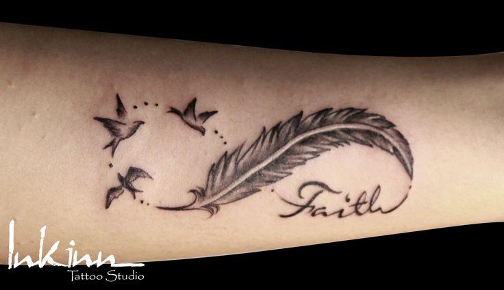 Infinity Sign with Feather | Feminine/Girly Tattoo Designs © inkinn.com