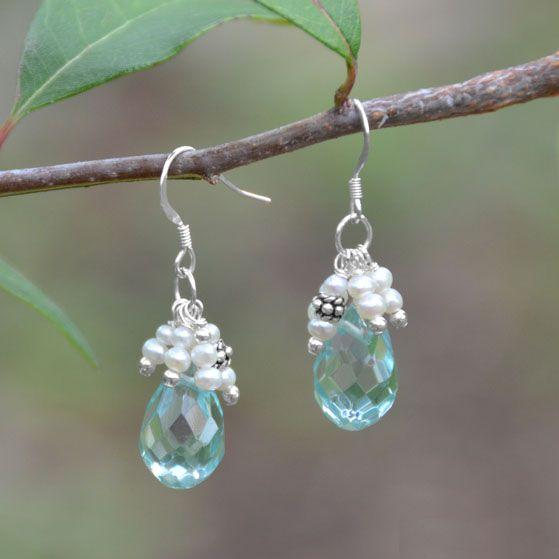 Light Blue Quartz and Pearl Earrings