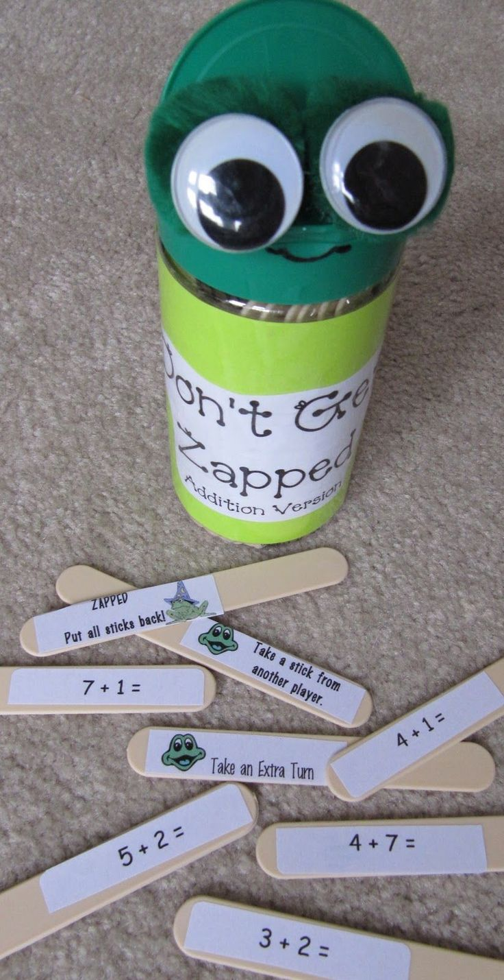 Mrs. Samuelson's Swamp Frogs: Don't Get Zapped!  For this game students take a stick from the monster and try and solve the problem. They get to keep it if it's answered correctly. There are also sticks that have other directions to make the game interesting.