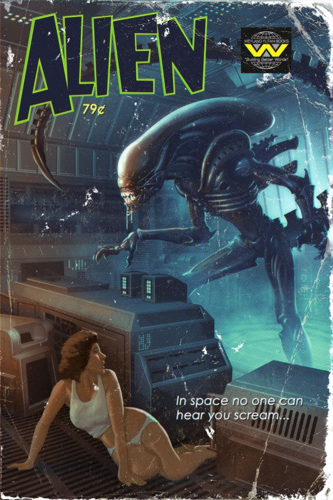 Classic Book Covers Reimagined ~ Sci fi film favorites get pulp cover make overs poster