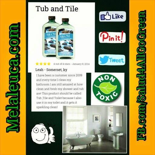 Tub And Tile  To see more Melaleuca Product reviews, GO TO:                  www.whyilovemelaleuca.com          #Melaleuca #GoGreen #Salud4All #NoHarshChemicals  #SafeHomeForFamilyAndPets #NonToxicCleaningProducts #BathroomCleaner   FB.com/Salud4AllGoGreen