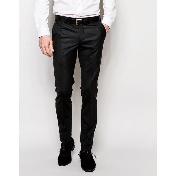 Noose & Monkey Trousers with Stretch And Turn up in Super Skinny Fit ($86) ❤ liked on Polyvore featuring men's fashion, men's clothing, men's pants and black