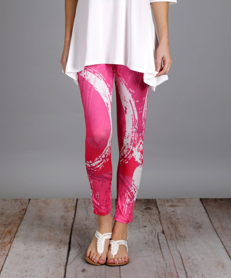 Take a look at this Pink & White Wave Slim-Leg Pants - Plus Too today!