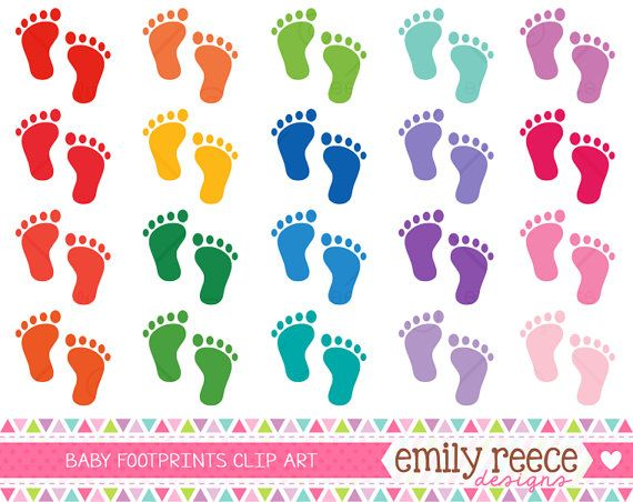 Baby Feet Footprints Silhouettes Colorful Cute Clip Art ...