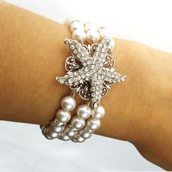 Starfish Wedding Bracelet, Ivory White Pearl Cuff Bridal Bracelet, Vintage Style Starfish Bracelet, Beach Wedding Bridal Jewelry, SEA MAIDEN