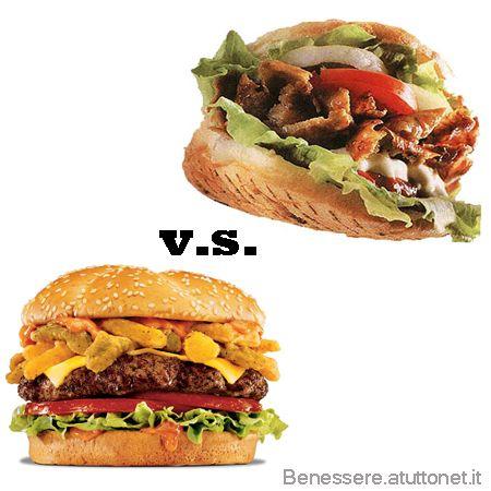 Meglio Kebab Hamburger Quante calorie ha Kebab pizza Hamburger differenze carni grasse condimento salse patatine ricetta light pollo maiale agnello foto