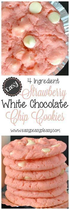 4 Ingredient EASY Strawberry White Chocolate Chip Cookies Recipe via Easy Peasy Pleasy