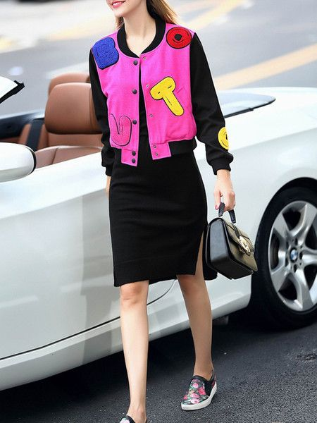 fuchsia Paneled short coat