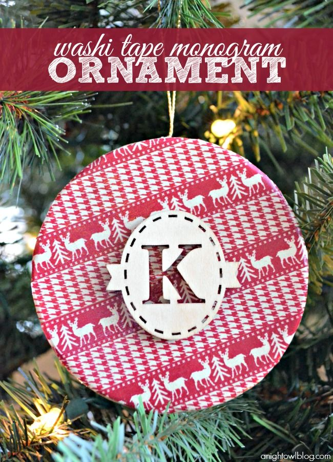 Washi Tape Monogram Ornament an easy
