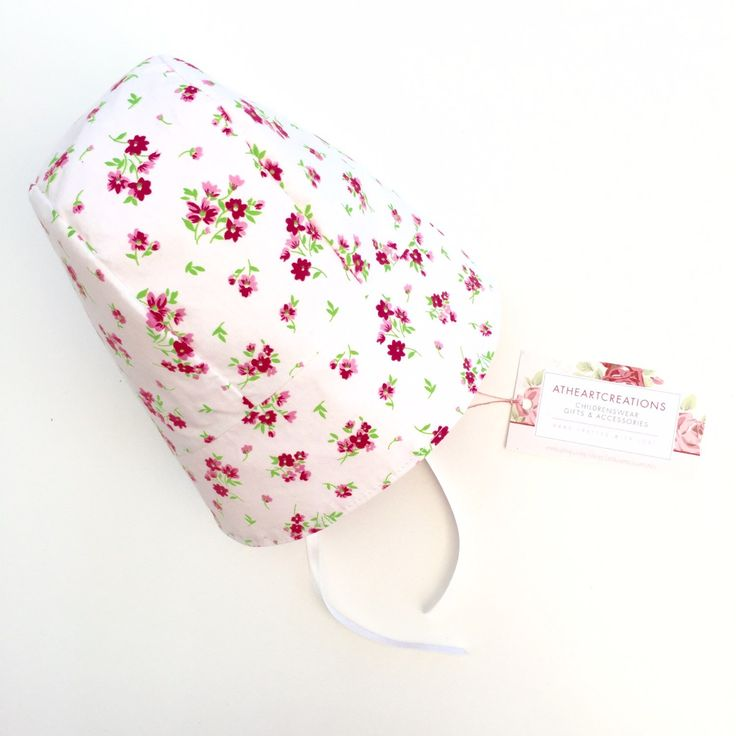 Available to buy now! 3-6 months size baby bonnet lined in pink cotton!