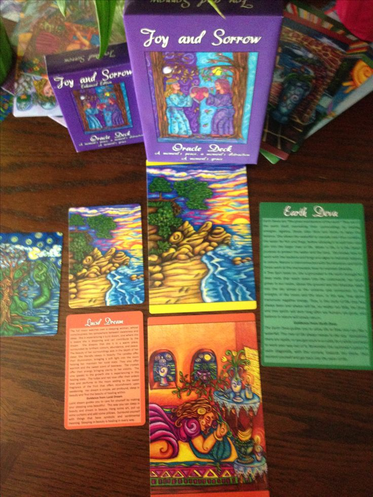 Joy and Sorrow Oracle with guided meditations and guidance from each card on the back.  Shipped internationally.