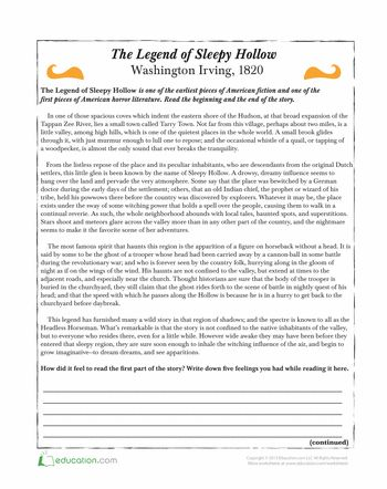 Worksheets: The Legend of Sleepy Hollow