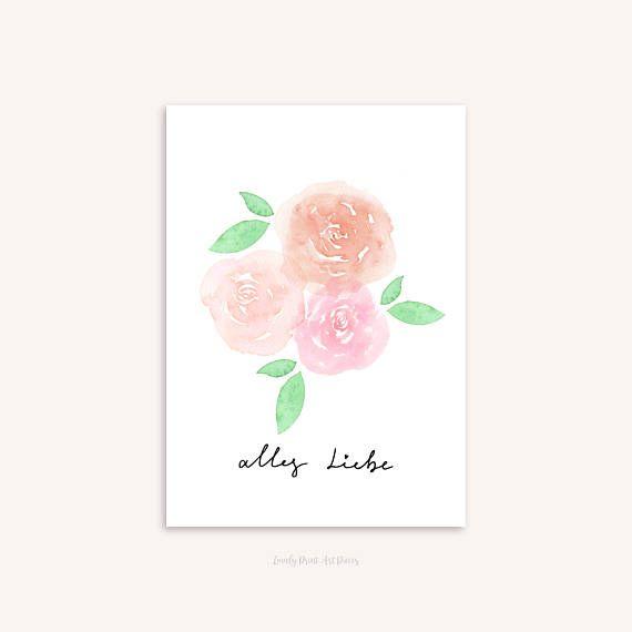 Grusskarte Geburtstagskarte Alles Liebe Aquarell Blumen Grusskarte