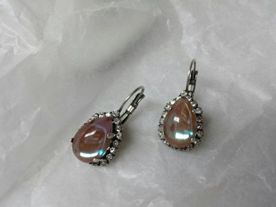 Rare Saphiret tear drop Pierced earrings  mint by LucyLucyLemon