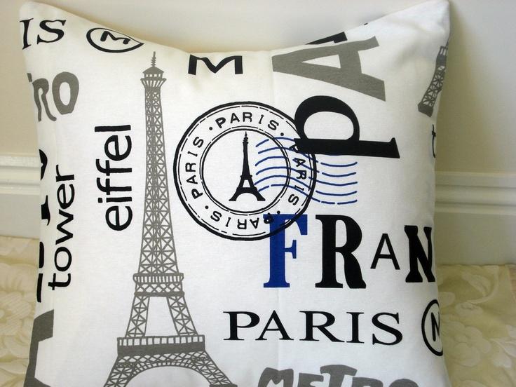 Throw Pillow France Paris Eiffel Tower Metro Blue Silver Grey Gray Black 18  Inch Cushion Cover