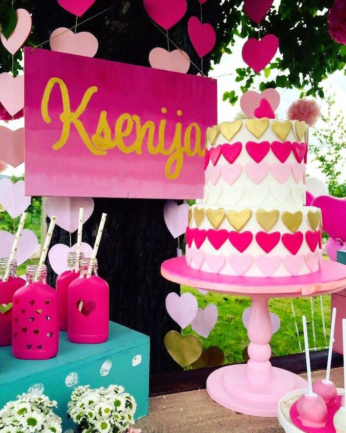 Gold Light Pink And Dark Pink Birthday Cake From Love Pink Ombre Gold