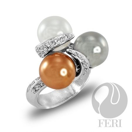 """- Exclusive FERI 950 Siledium silver - Exclusive dual natural rhodium and palladium plating - Set with exclusive FERI Swan cut lab stones - Colour: white, bronze and silver glass pearls - Dimensions: Top of ring 20mm x 20mm x 20mm 10mm high (0.8"""" x 0.8"""" x 0.8"""" & 0.4"""")"""