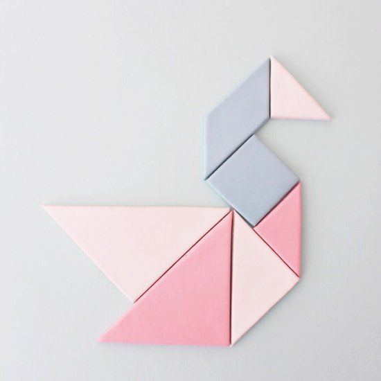 Easy tutorial for tangram magnets using air-dry clay. Make as a gift or keep for yourself.