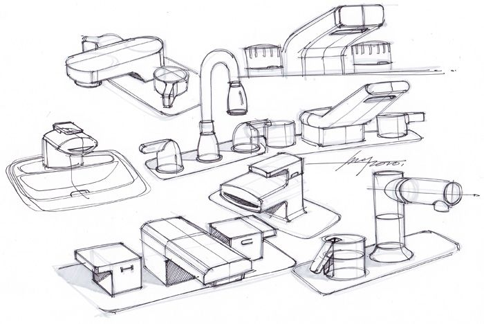 sketch-a-day-202. Faucet industrial design sketches by Spencer Nugent