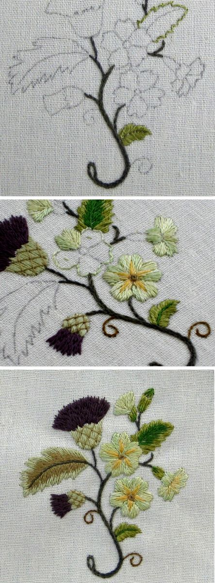 1 Stems-stem stitch, 2 Leaves outlined in split back stitch. Lower bright green leaf- satin stitch over split back stitch edging. Thistle–straight stitches, in a fan pattern until the flower head 'looked right'. Just the one shade suggested in  instructions is too dense. Needs other colour or shade added.  Primroses are too 'green'–colour looked more yellow when chosen. Thistle flowers–straight stitches in  fan pattern 'looked right'. trellis stitch on thistles. See page-larger pics…