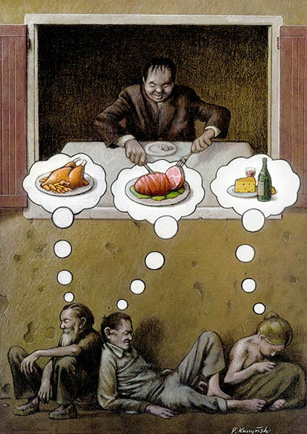 Satirical illustration by Pawel Kuczynski