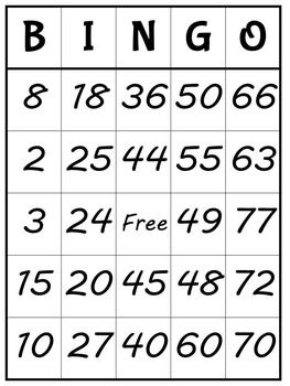 Multiplication Bingo! Great practice for 0-12 times tables. Comes with 30 cards.